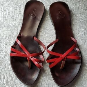 Banana Republic leather red and brown sandals